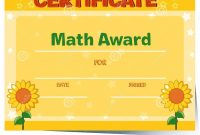Certificate Template With Sunflowers In Background Stock Vector inside Math Certificate Template