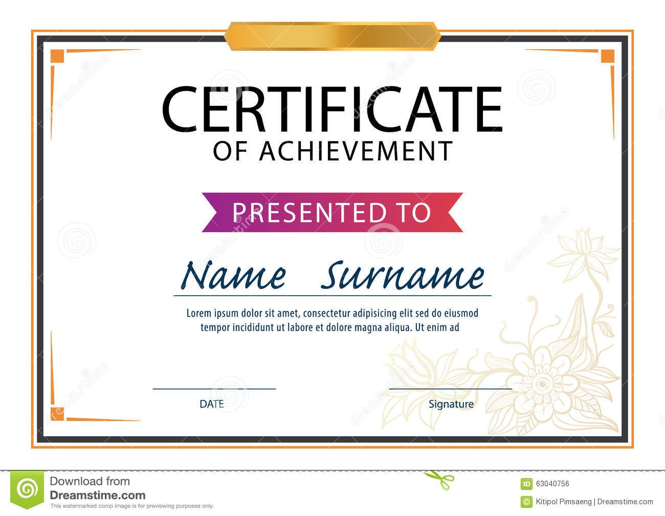 Certificate Templatediploma Layouta Size Stock Vector In Certificate Template Size