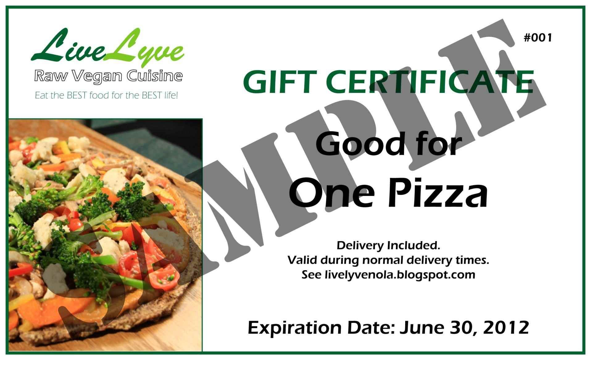 Certificate Templates Food Gift Certificate Template Image Throughout Pizza Gift Certificate Template