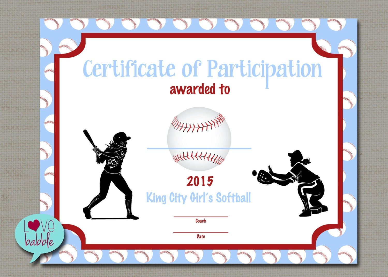 Certificate Templates Girls Softball Baseball T Ball Award For Softball Certificate Templates Free