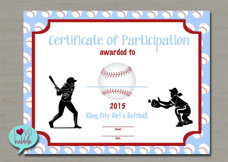 Certificate Templates Girls Softball Baseball T Ball Award Regarding Softball Certificate Templates