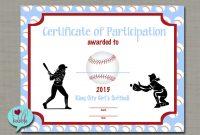 Certificate Templates Girls Softball Baseball T Ball Award with Softball Award Certificate Template