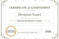 Certificateofachievementword throughout Word Template Certificate Of Achievement