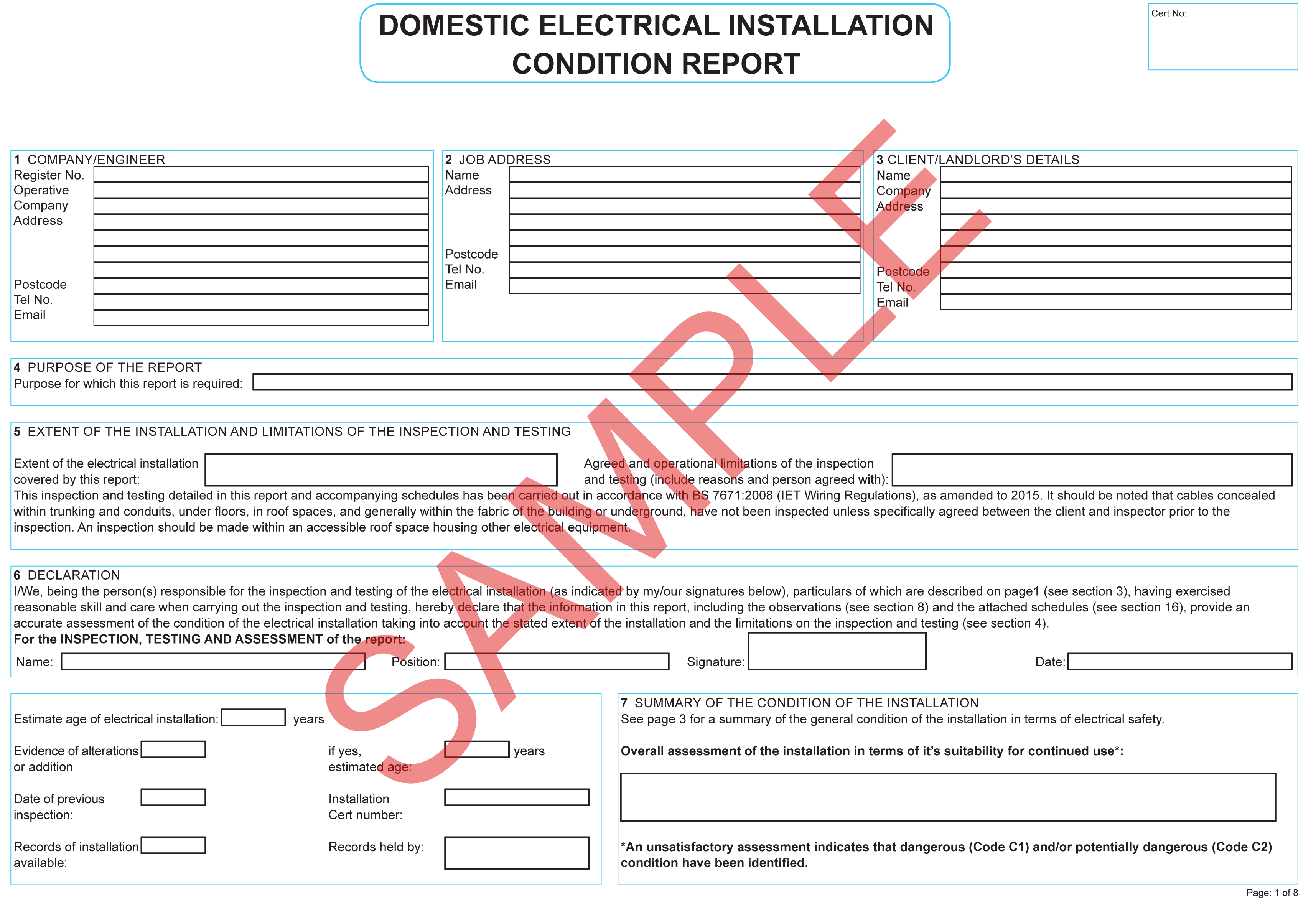 Certificates  Everycert Inside Electrical Installation Test Certificate Template