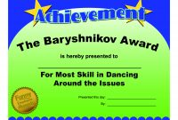 Certificates Fun Certificate From Funny Employee He Bar Yshnikov for Funny Certificates For Employees Templates