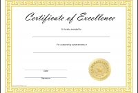 Certificates Of Excellence  Toha throughout Award Of Excellence Certificate Template