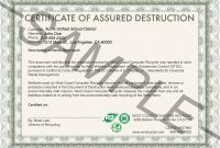 Certifications  Insurance  W C Computer Recycler Inc throughout Certificate Of Disposal Template