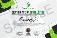 Certifications  Team Recycling throughout Certificate Of Disposal Template