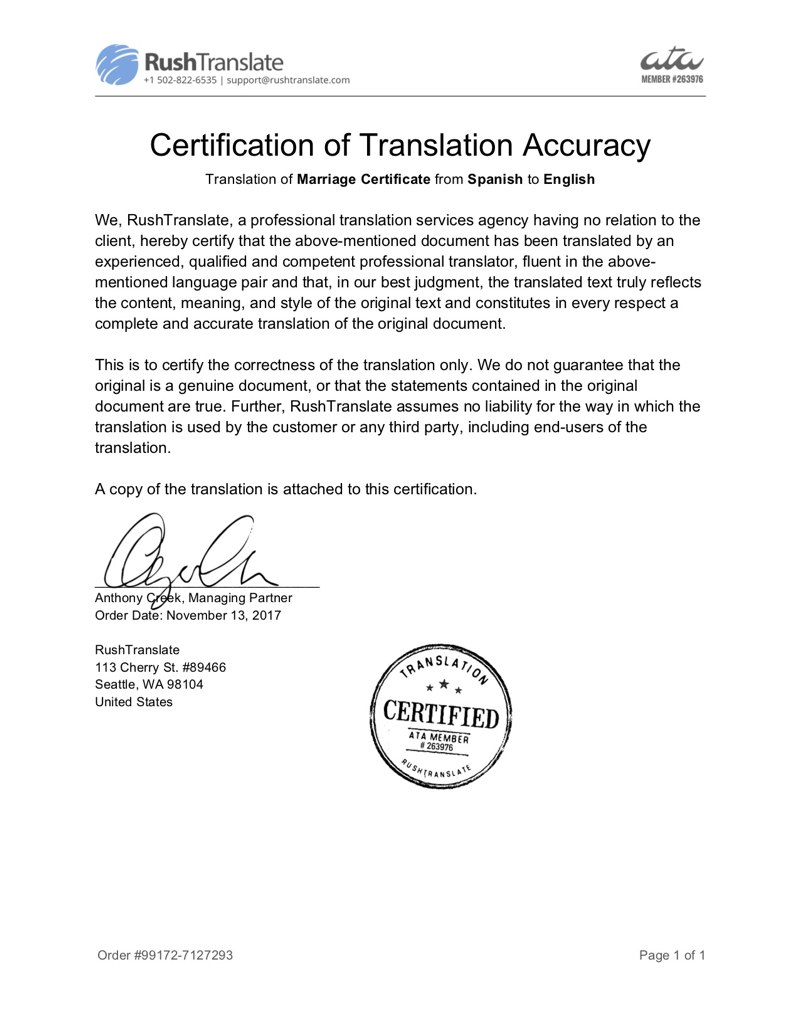 Certified Spanish Marriage Certificate Translation  Rushtranslate Inside Marriage Certificate Translation From Spanish To English Template