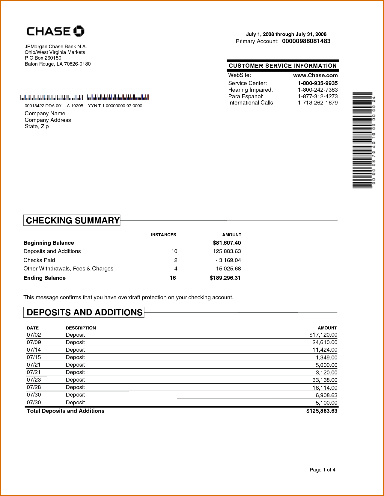 Chase Bank Statement Online Template  Best Template Collection Pertaining To Blank Bank Statement Template Download