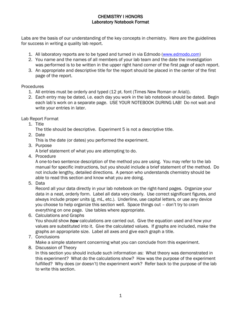 Chemistry I Honors Lab Report Format For Chemistry Lab Report Template