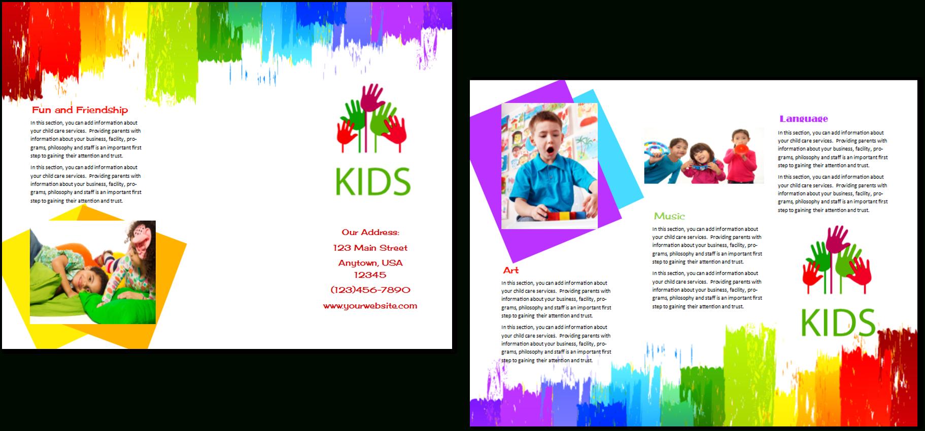 Child Care Brochure Template   Child Care Owner regarding Daycare Brochure Template