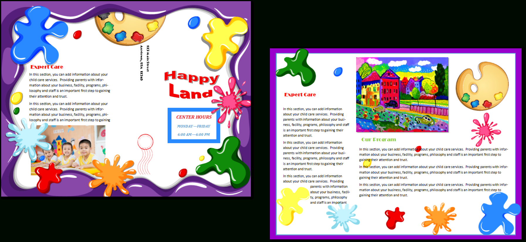 Child Care Brochure Templates Brochures Templates And Flyer Design within Daycare Brochure Template