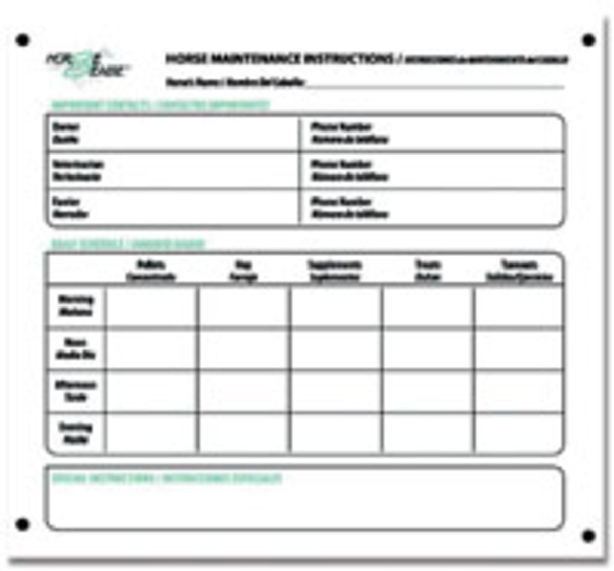 Chore Charts Keep Busy Barns In Order  Horserider With Regard To Horse Stall Card Template
