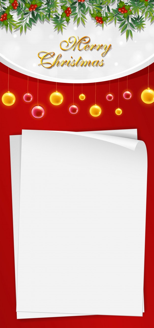 Christmas Card Template With Blank Paper And Mistletoes Vector Within Blank Christmas Card Templates Free