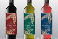 Christmas Greetings Wine Bottle Labels Concept Red White And Pink intended for Wine Bottle Label Design Template