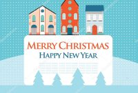 Christmas New Year Greeting Card Street View Lovely Houses Small in Small Greeting Card Template