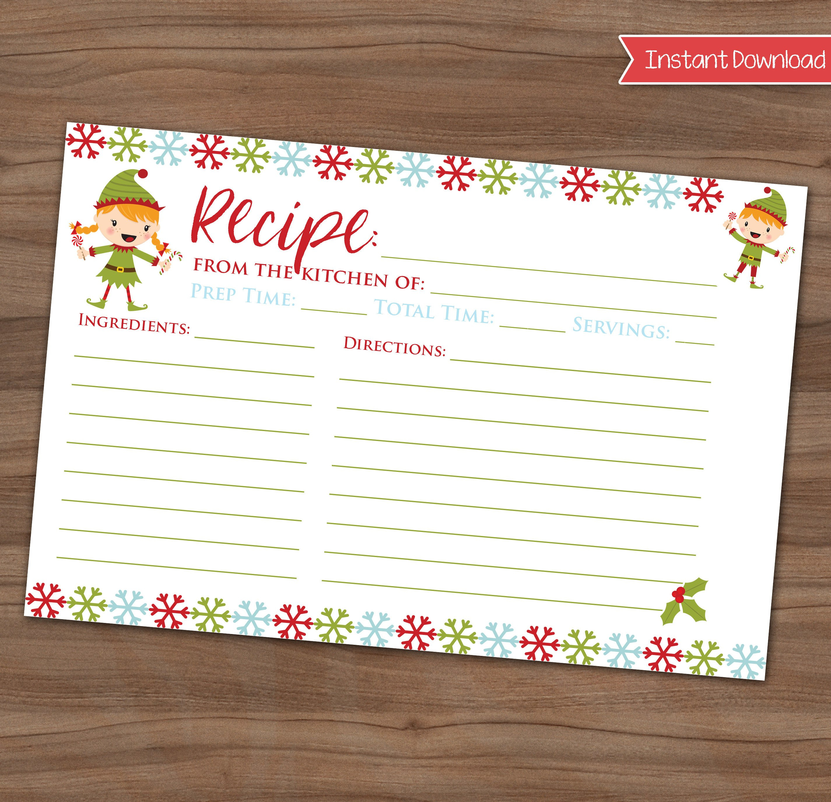Christmas Recipe Card Cookie Exchange Holiday Party Xmas  Etsy In Cookie Exchange Recipe Card Template