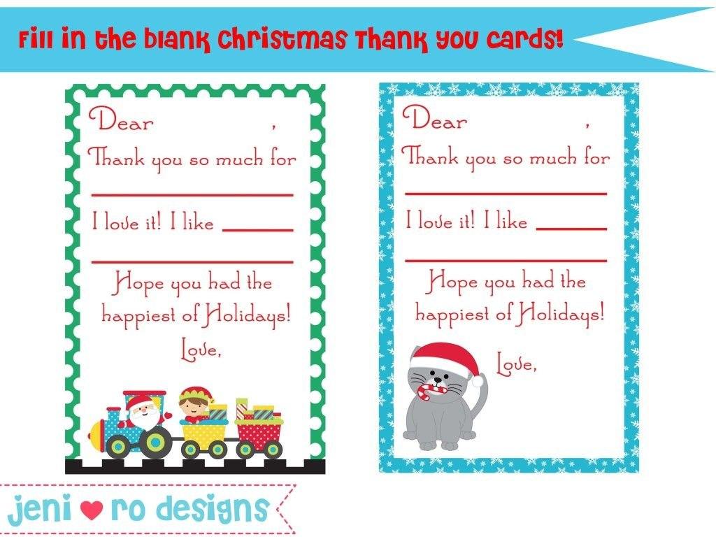 Christmas Thank You Card Printable  Free Wwwjenirodesigns With Christmas Thank You Card Templates Free