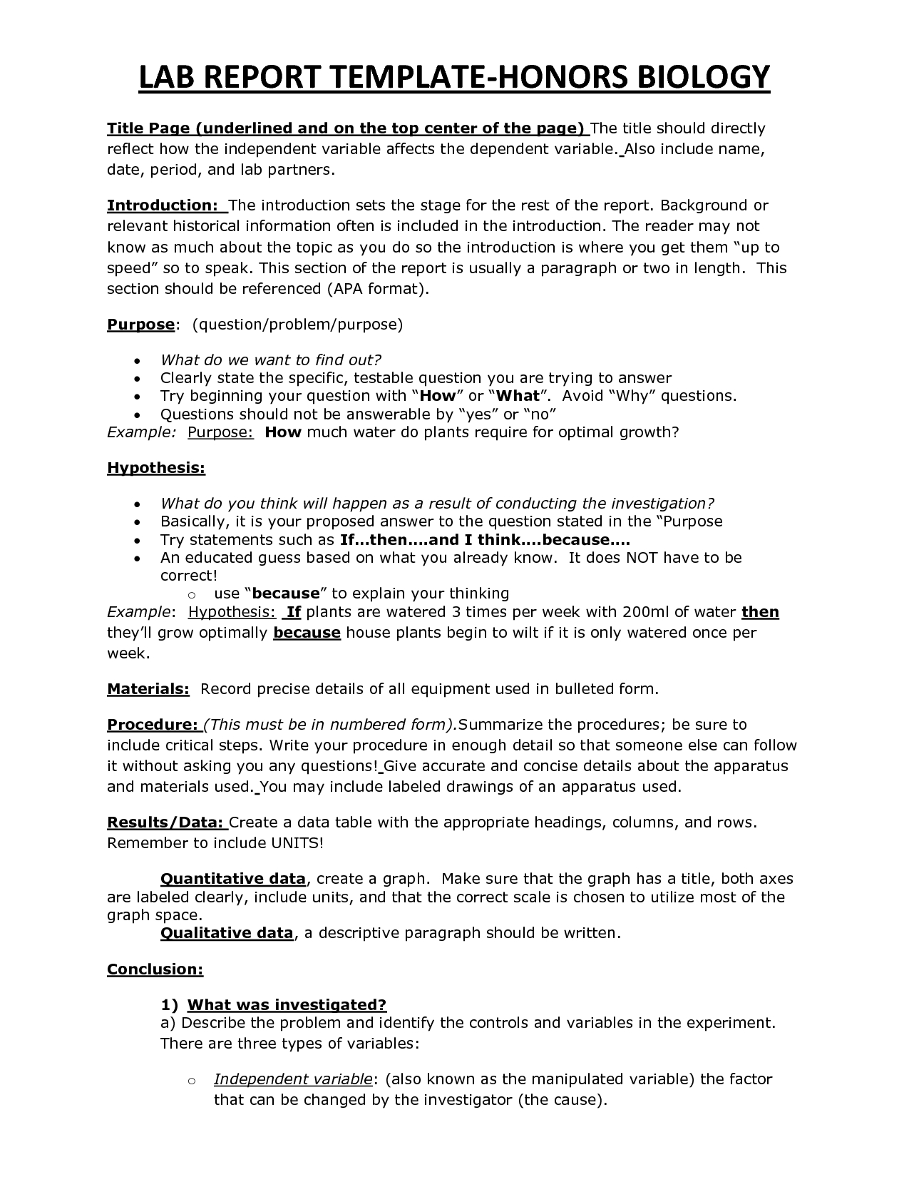 Chs Hbio Lab Report Template  Biology  Lab Report Template Lab Within Template On How To Write A Report