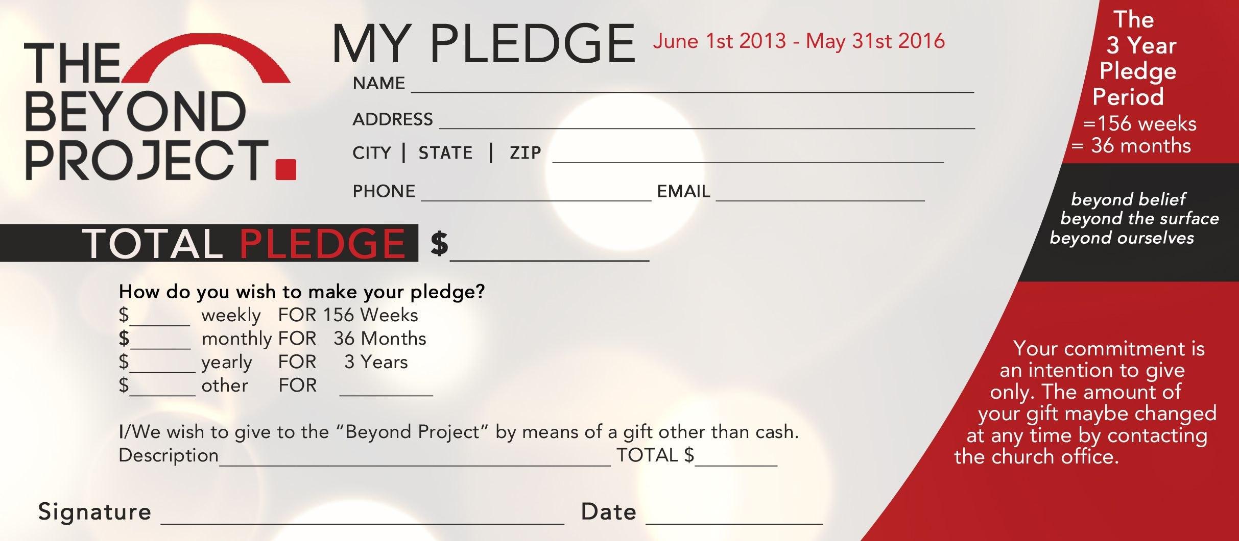 Church Pledge Form Template Hausnuc  Capital Campaign  Church In Fundraising Pledge Card Template