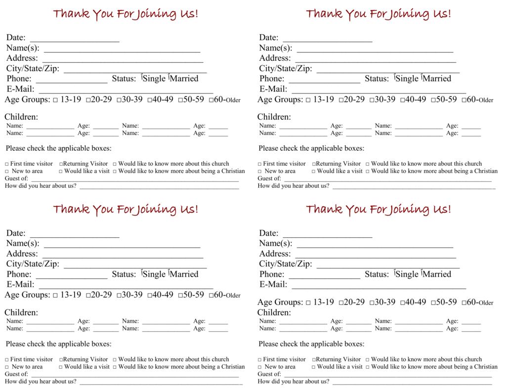 Church Visitor Card Template In Church Visitor Card Template