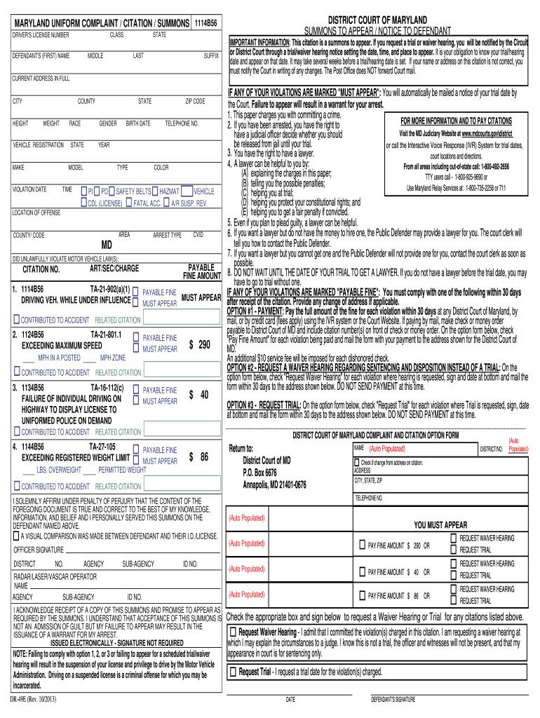 Citations Blank  Fill Online Printable Fillable Blank  Pdffiller Regarding Blank Speeding Ticket Template