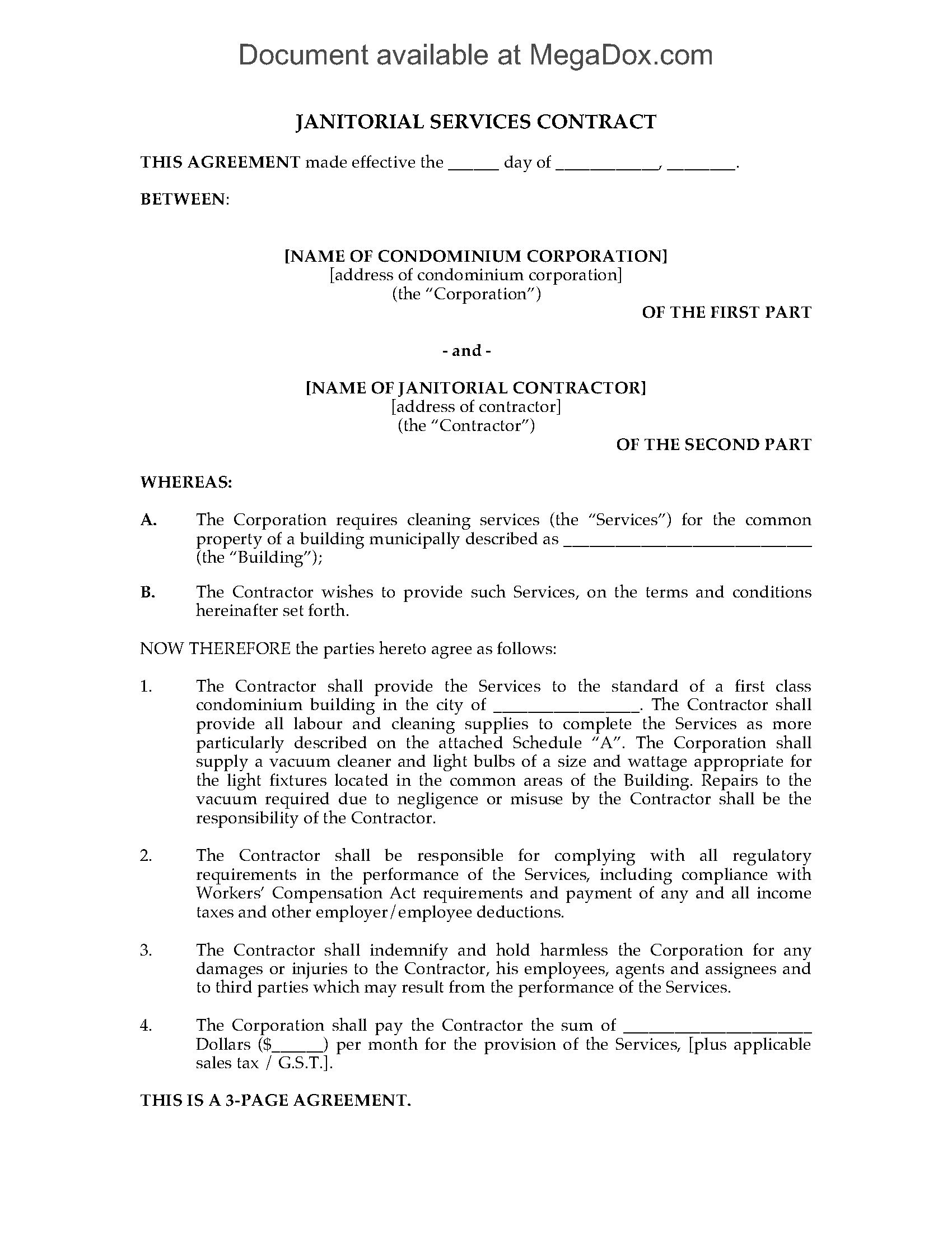 Cleaning Contract For Condominium Building  Legal Forms And Within Janitorial Service Agreement Template