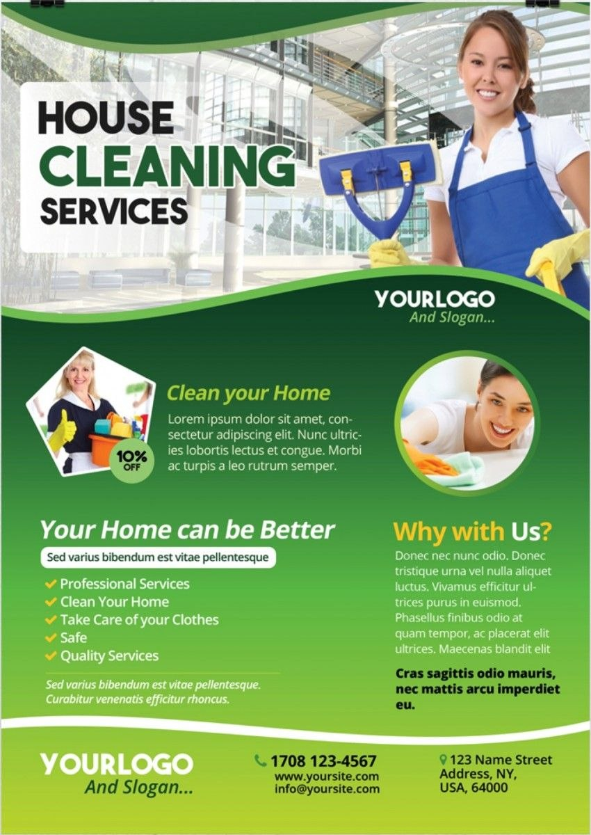 Cleaning Services – Download Free Psd Flyer Template  Free Flyer For Flyers For Cleaning Business Templates