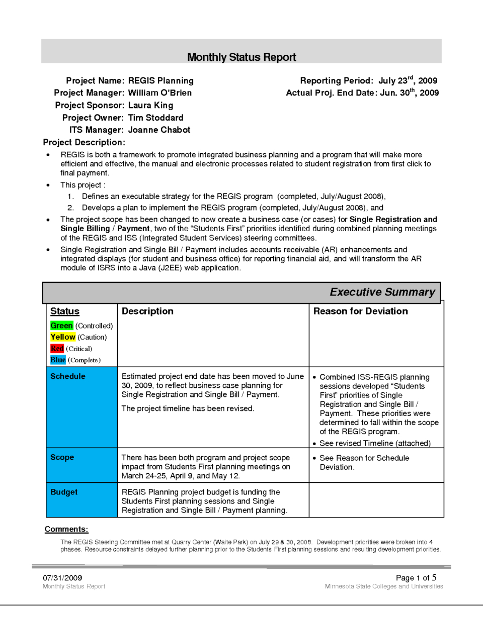 Clever Business Project Monthly Status Report Template And Form Regarding Project Monthly Status Report Template