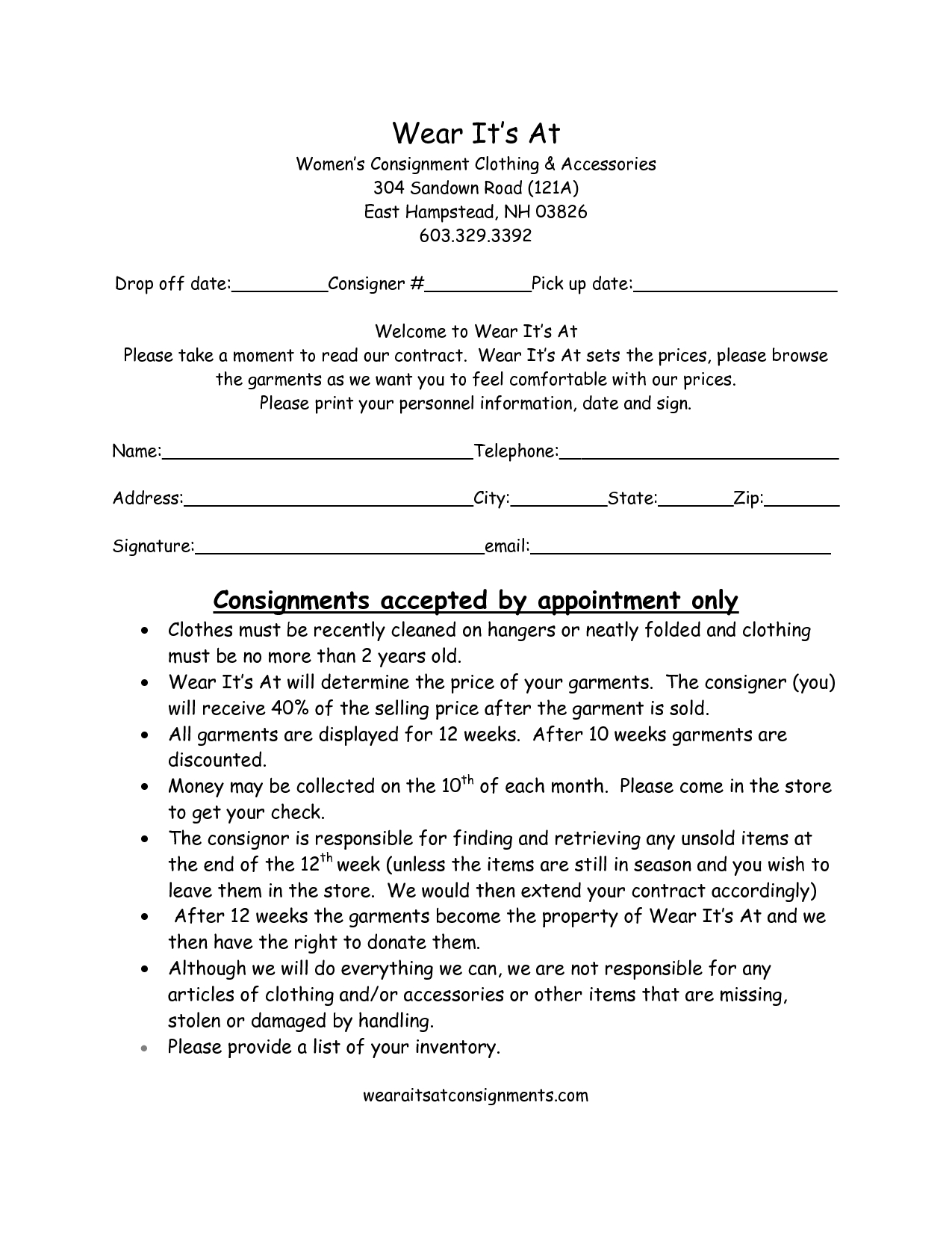 Clothing Consignment Contract Template  Scope Of Work Template Pertaining To Simple Consignment Agreement Template