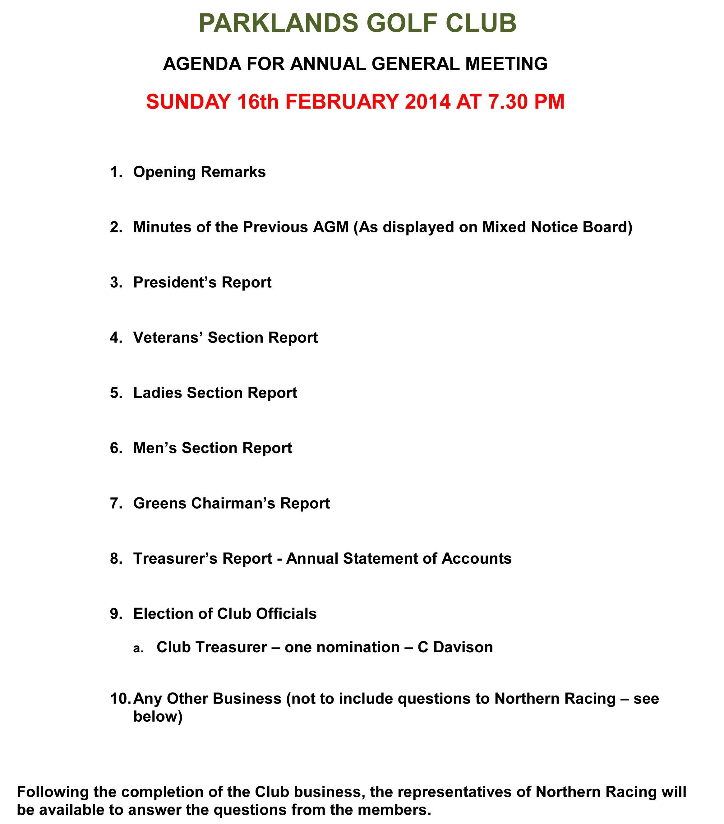 Club Agm – Sunday Th February   Parklands Golf Club With Treasurer's Report Agm Template