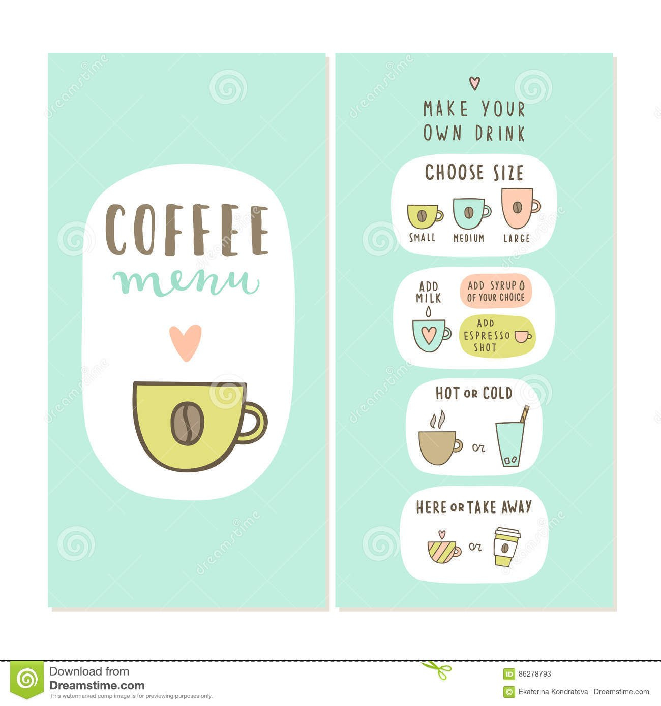 Coffee Bar Menu Template Stock Vector Illustration Of Coffee Intended For Design Your Own Menu Template