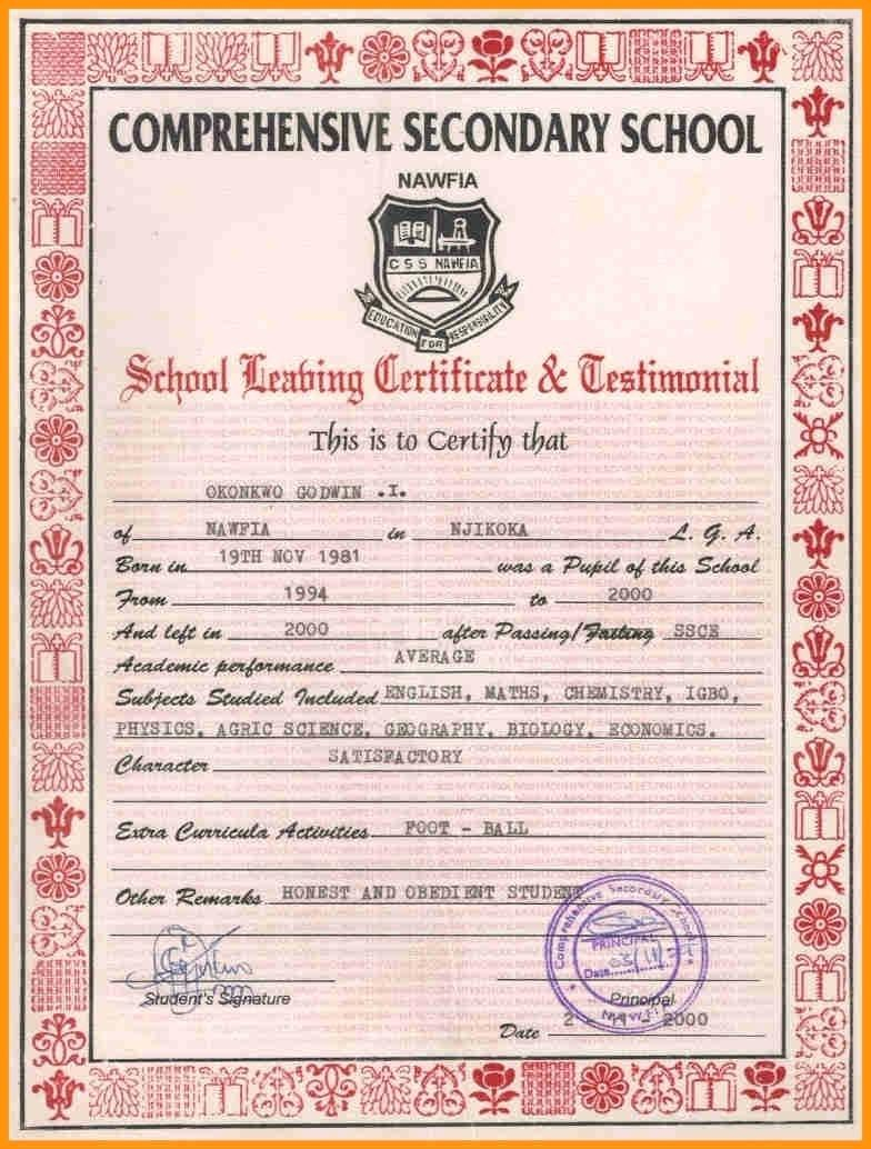 Collection Of Solutions For School Leaving Certificate Template With With Regard To School Leaving Certificate Template