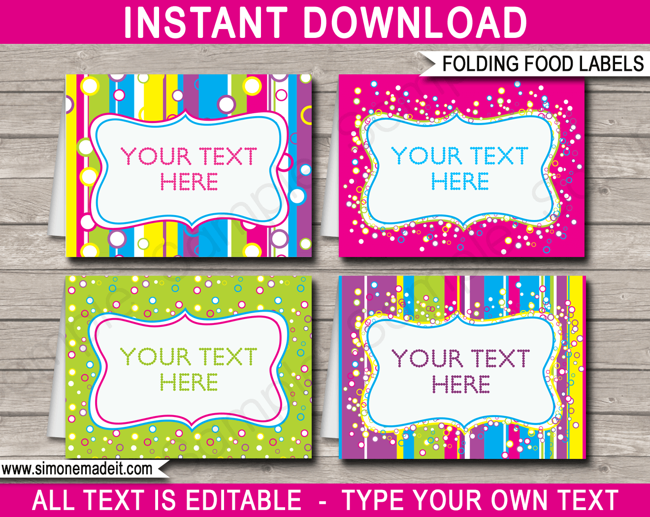 Colorful Food Labels  Place Cards  Printable  Editable Template Pertaining To Butterfly Labels Templates
