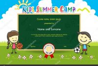 Colorful Kids Summer Camp Diploma Certificate Template In Cartoon with Summer Camp Certificate Template
