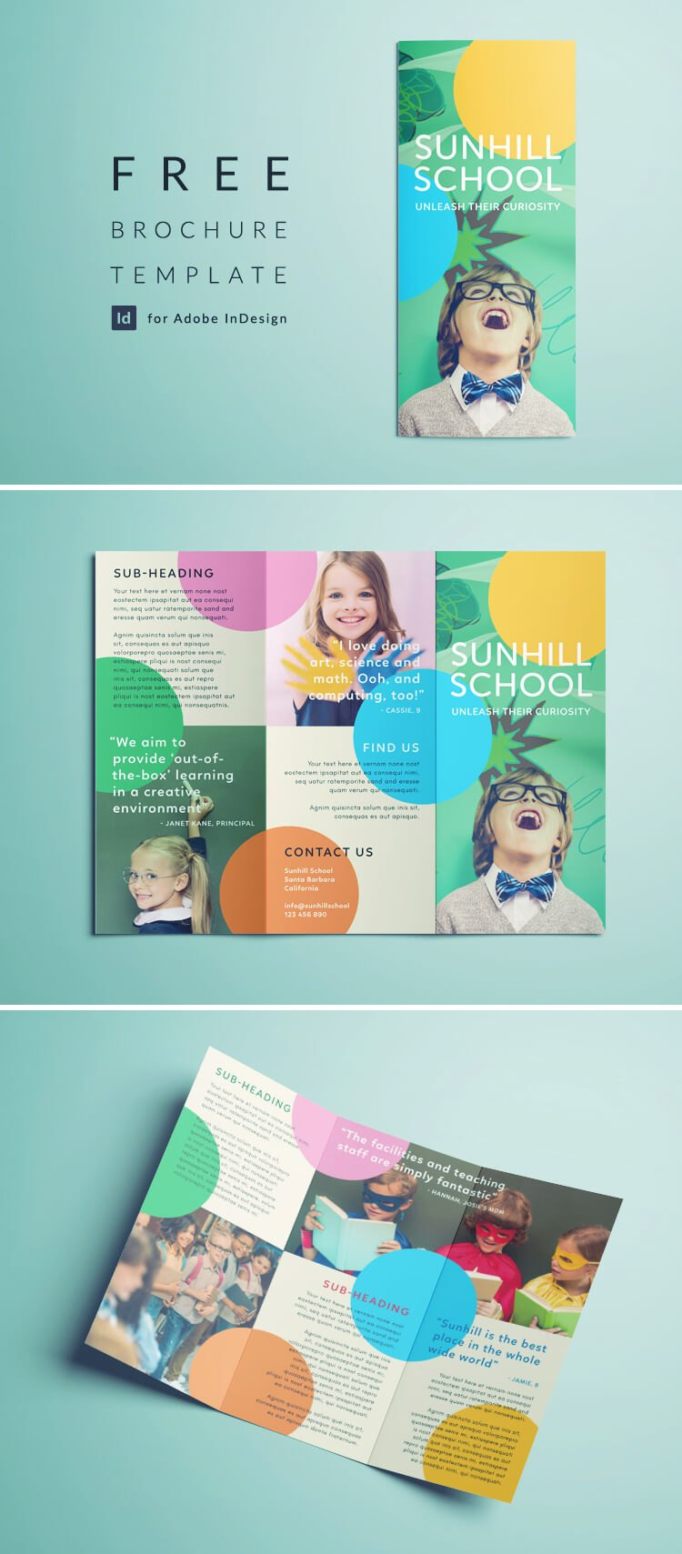Colorful School Brochure  Tri Fold Template  Download Free Within Tri Fold School Brochure Template