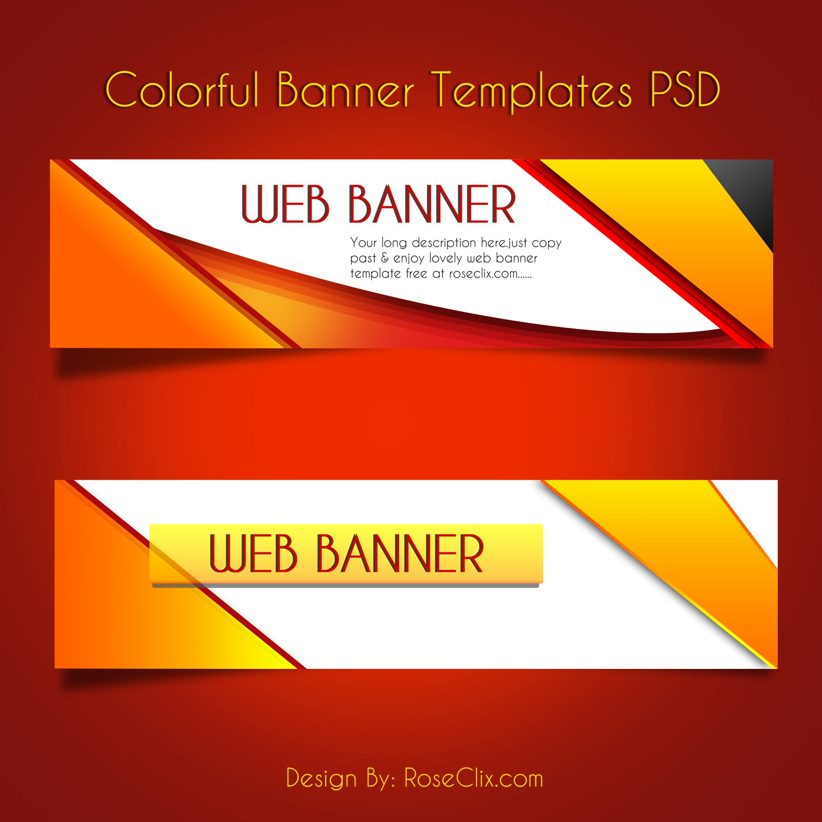 Colorful Web Banners Vector Design Template Psd Free Regarding Free Website Banner Templates Download