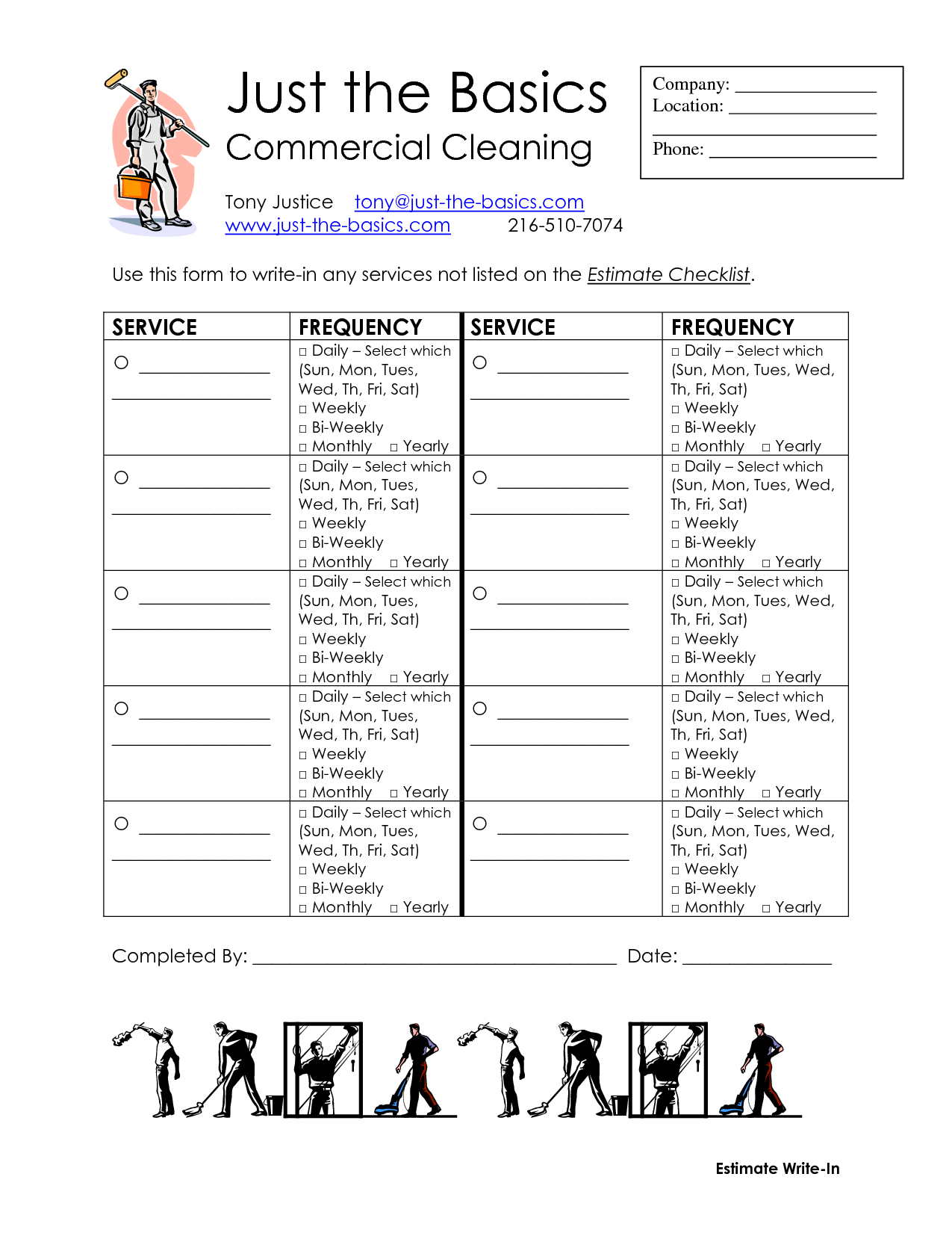 Commercial Cleaning Checklist Printable  Diy Cleaning Supplies With Carpet Cleaning Service Contract Templates