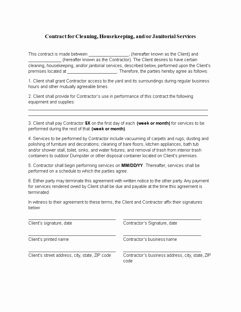 Commercial Cleaning Contract Template Sample – Wfacca Regarding Commercial Cleaning Service Agreement Template
