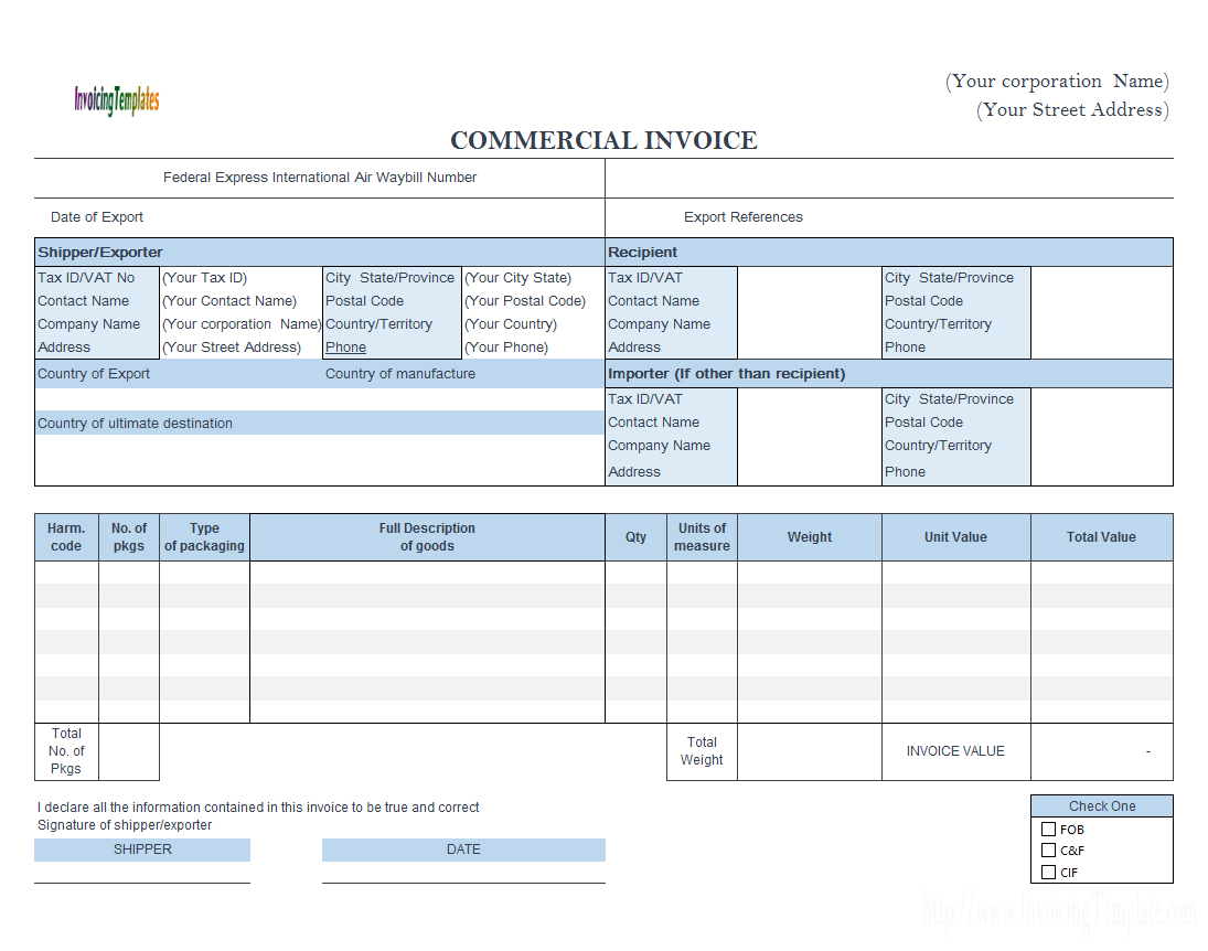 Commercial Invoice  Fedex Style Landscape With Regard To Fedex Proforma Invoice Template