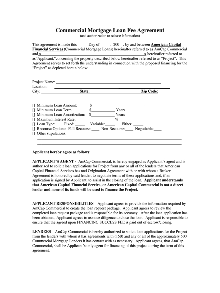 Commercial Loan Broker Agreement Template  Fill Online Printable Throughout Commercial Mortgage Broker Fee Agreement Template