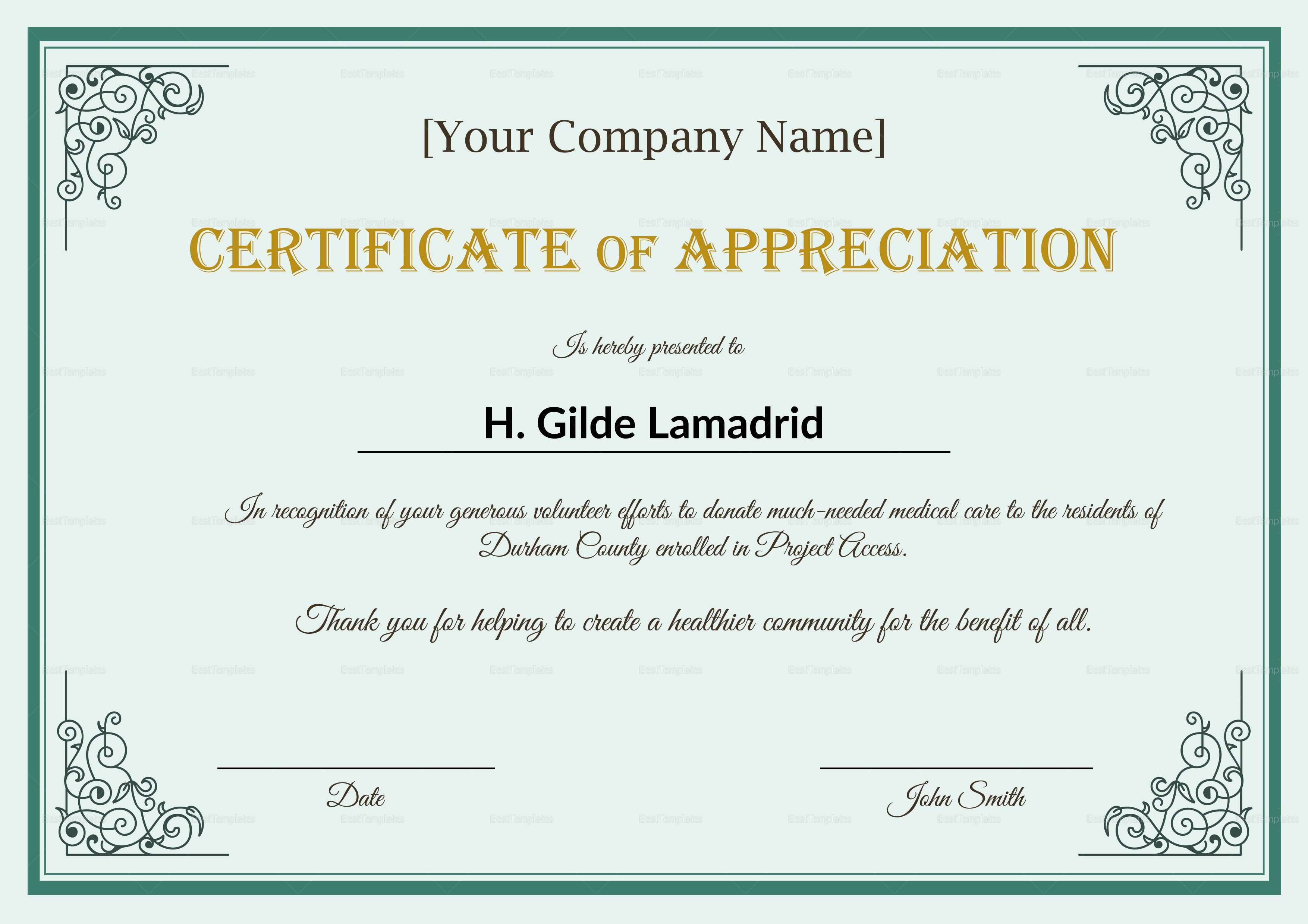 Company Employee Appreciation Certificate Design Template In Psd Word Intended For In Appreciation Certificate Templates