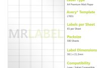 Compatible Labels  L J Pack Of  Sheets   Labels Sheet pertaining to Label Template 65 Per Sheet