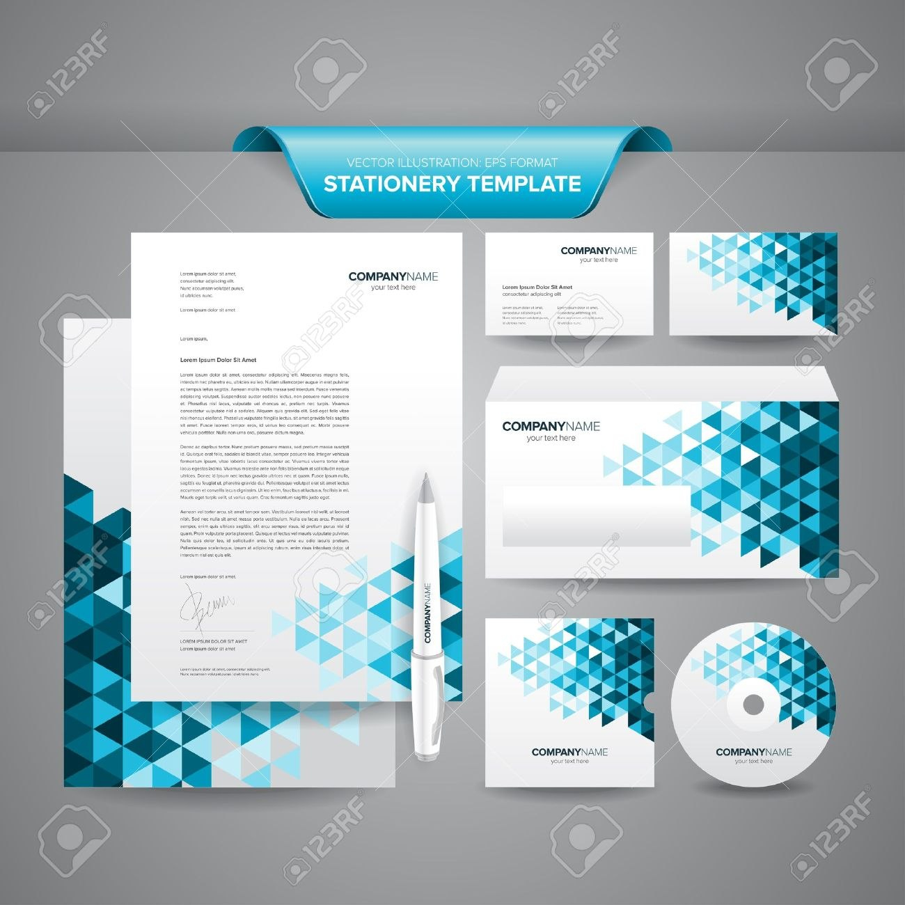 Complete Set Of Business Stationery Template Such As Letterhead With Regard To Business Card Letterhead Envelope Template