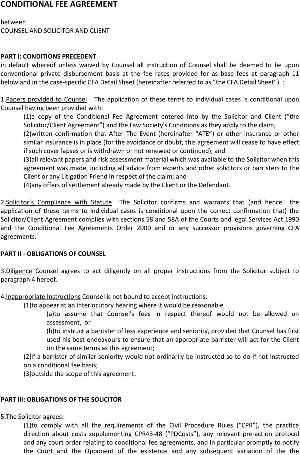 Conditional Fee Agreement Standard Terms Apil Piba    Form Inside Conditional Fee Agreement Template
