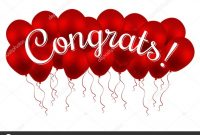 Congrats Congratulations Vector Banner With Balloons And Letter within Congratulations Banner Template