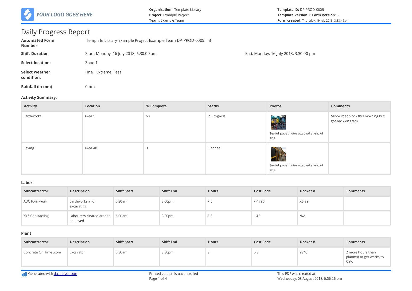 Construction Site Daily Progress Report Template Use It Free Regarding Construction Daily Report Template Free