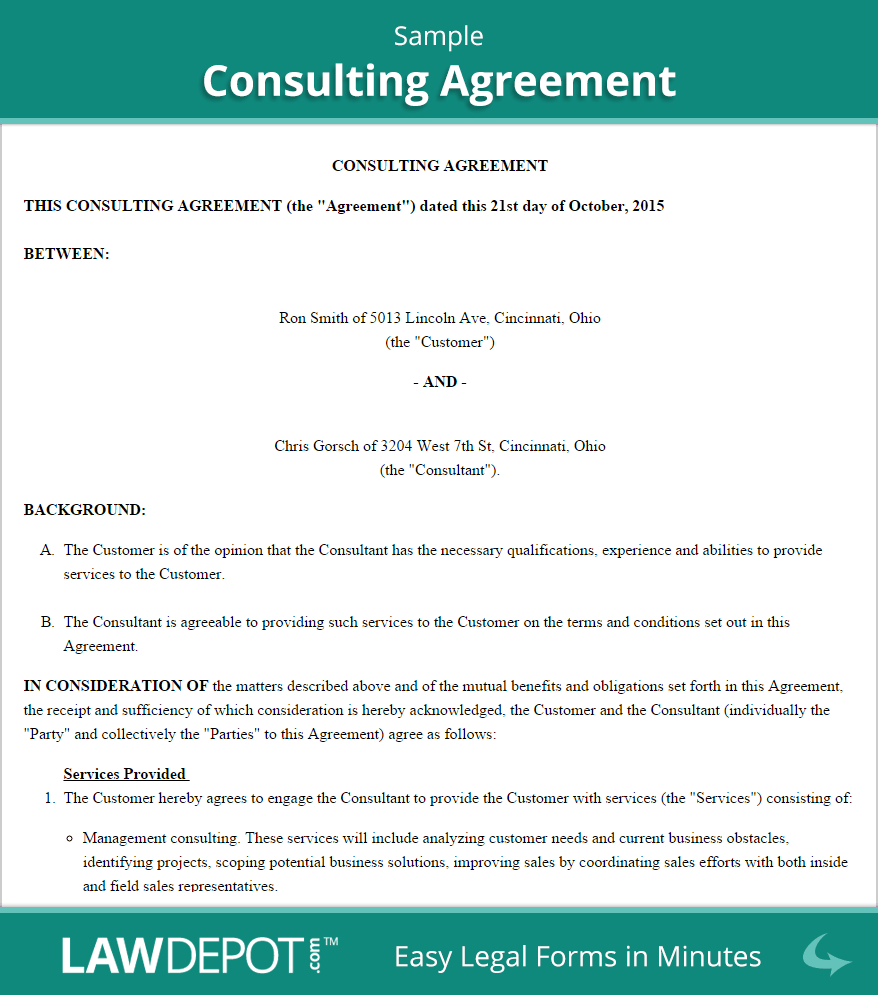 Consulting Agreement Template Us  Lawdepot For Contract For Service Agreement Template