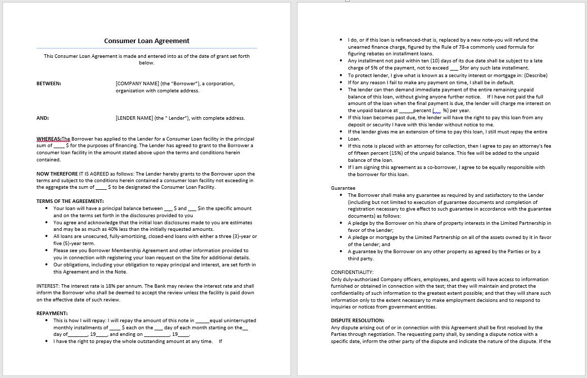 Consumer Loan Agreement Template – Microsoft Word Templates Regarding Consumer Loan Agreement Template